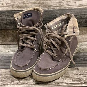 Sperry Top Sider Gray Plaid Hightop Sneakers 8